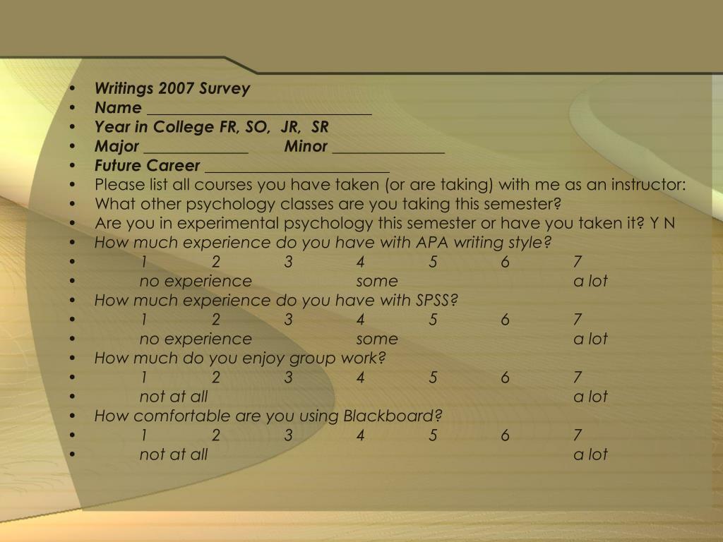 Writings 2007 Survey