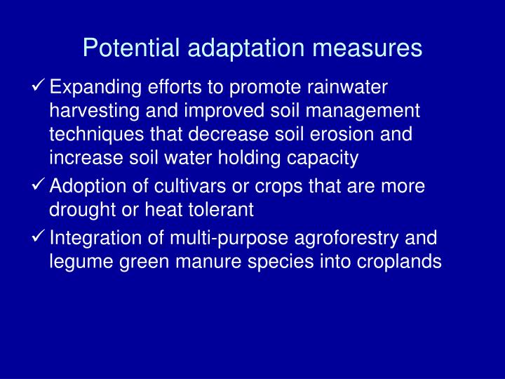 Potential adaptation measures