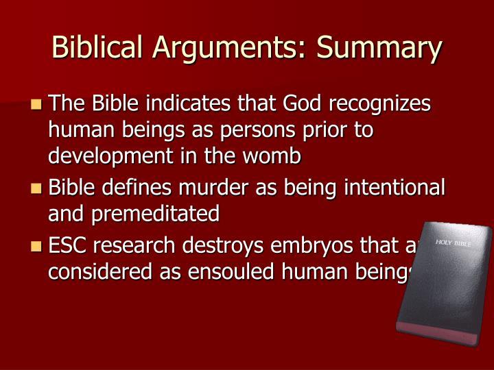 Biblical Arguments: Summary