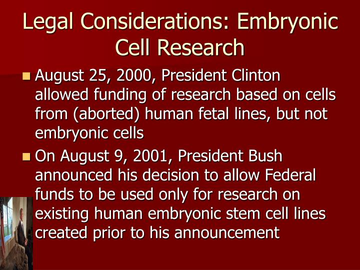 Legal Considerations: Embryonic Cell Research