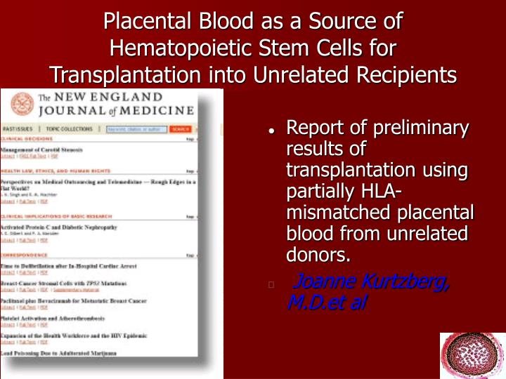 Placental Blood as a Source of Hematopoietic Stem Cells for Transplantation into Unrelated Recipients