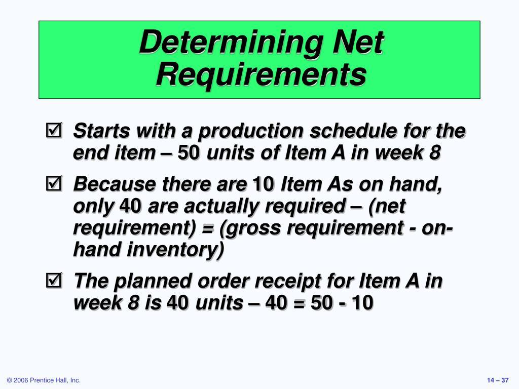 Determining Net Requirements