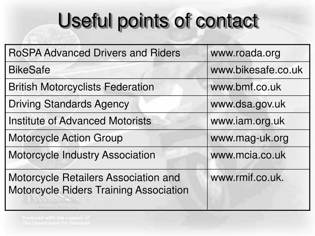 Useful points of contact