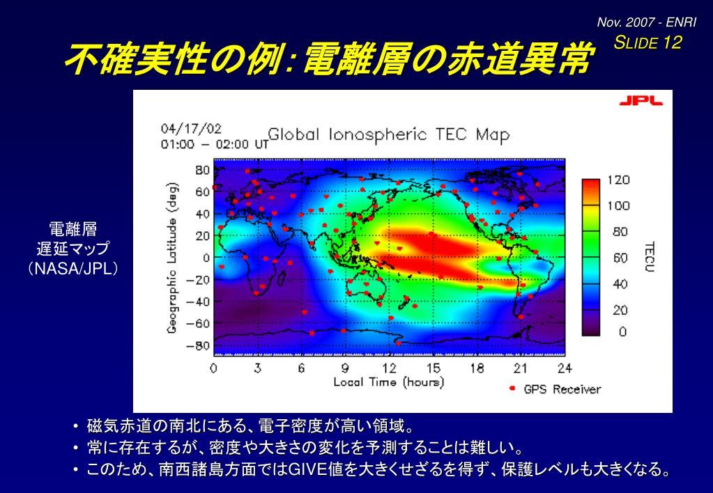 不確実性の例:電離層の赤道異常