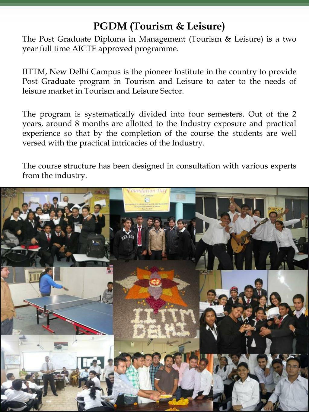 PGDM (Tourism & Leisure)