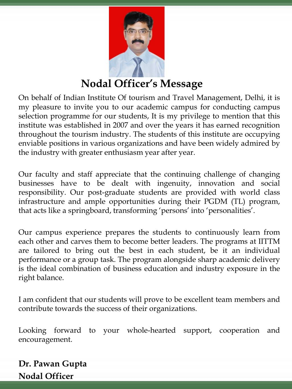 Nodal Officer's Message