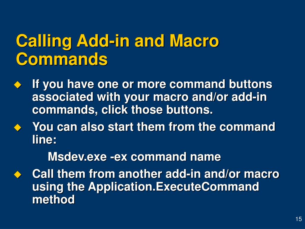 Calling Add-in and Macro Commands