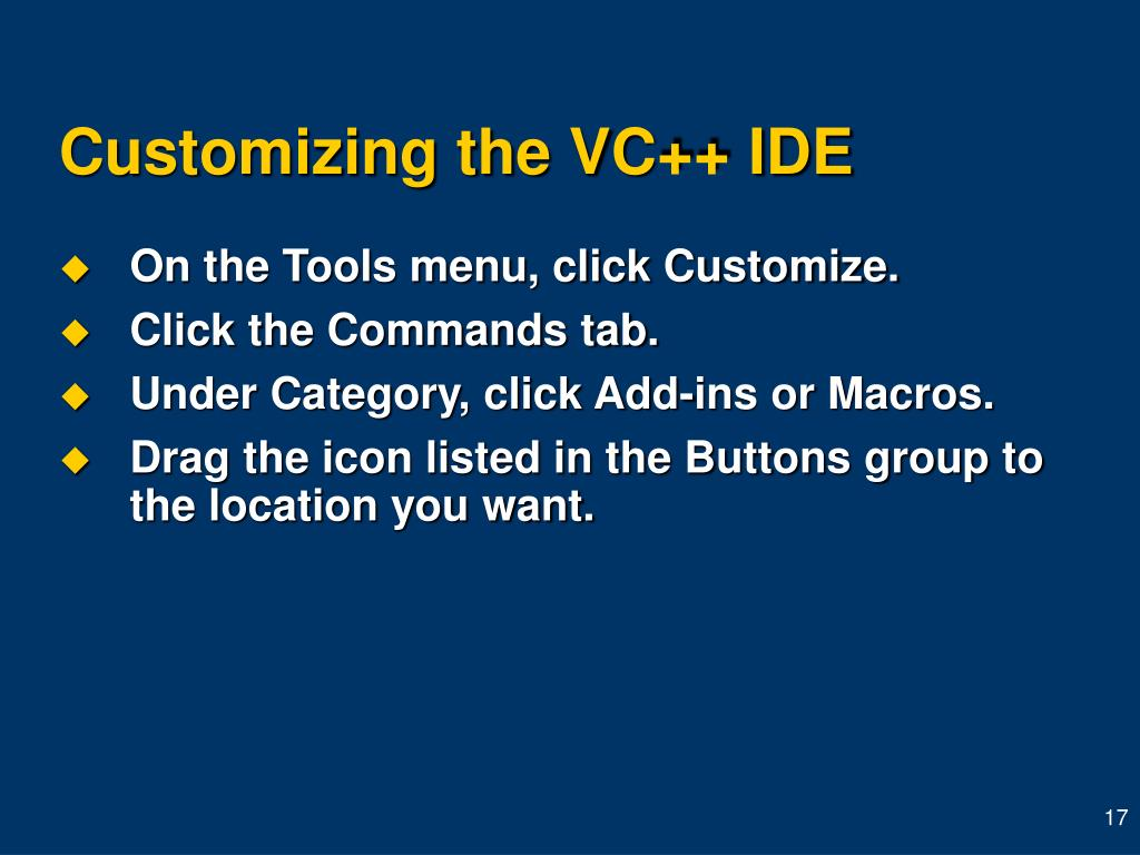 Customizing the VC++ IDE