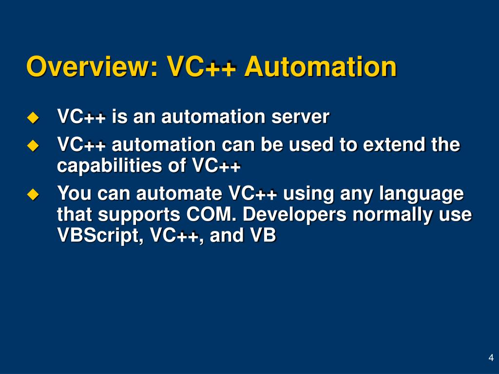 Overview: VC++ Automation