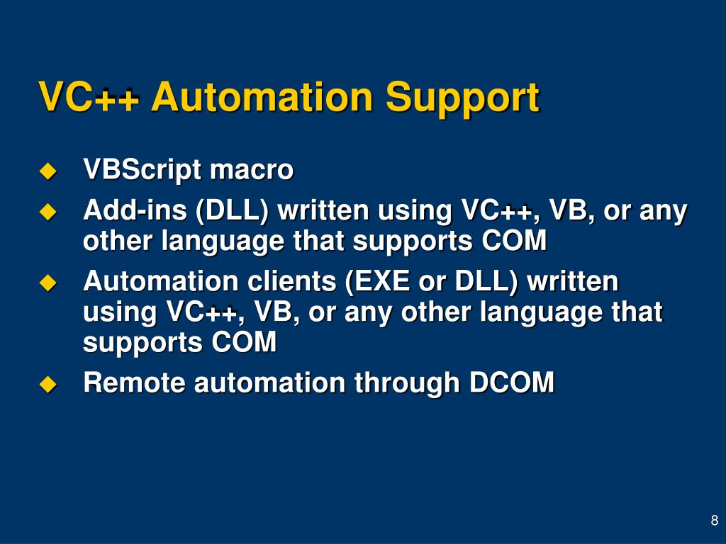 VC++ Automation Support