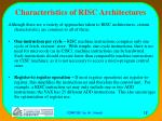 characteristics of risc architectures