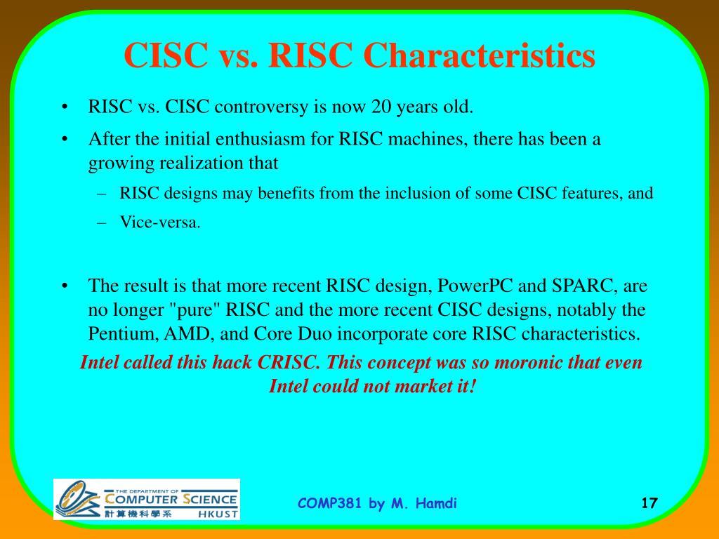 CISC vs. RISC Characteristics