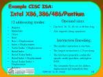 example cisc isa intel x86 386 486 pentium