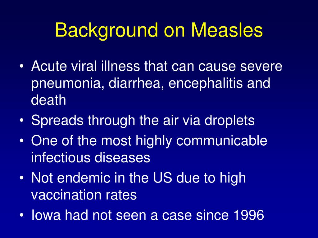 Background on Measles