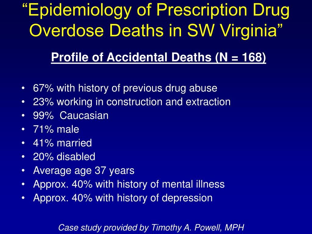"""Epidemiology of Prescription Drug Overdose Deaths in SW Virginia"""