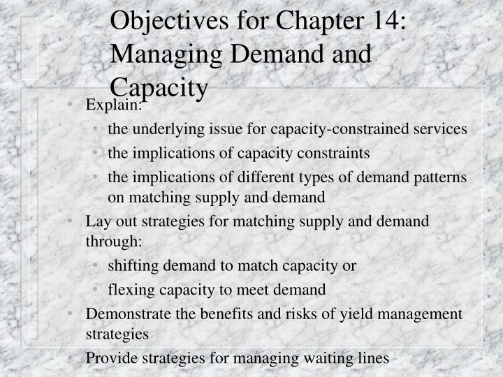 Objectives for chapter 14 managing demand and capacity
