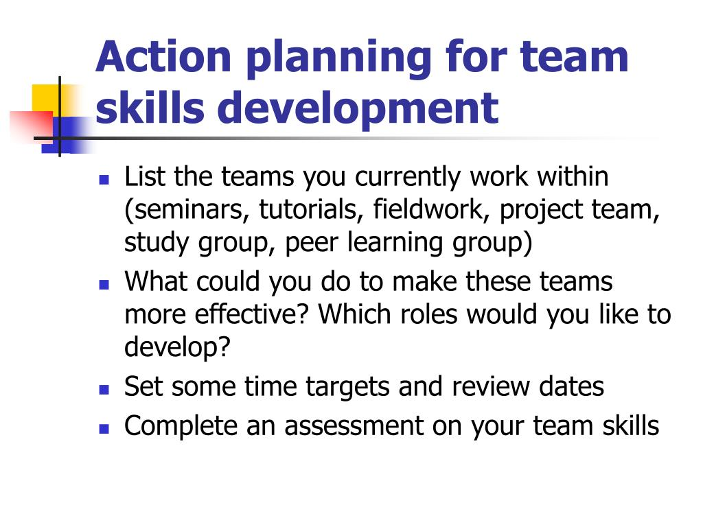 Action planning for team skills development