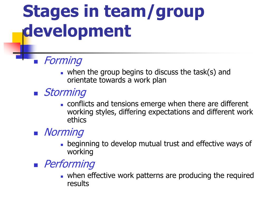 Stages in team/group development