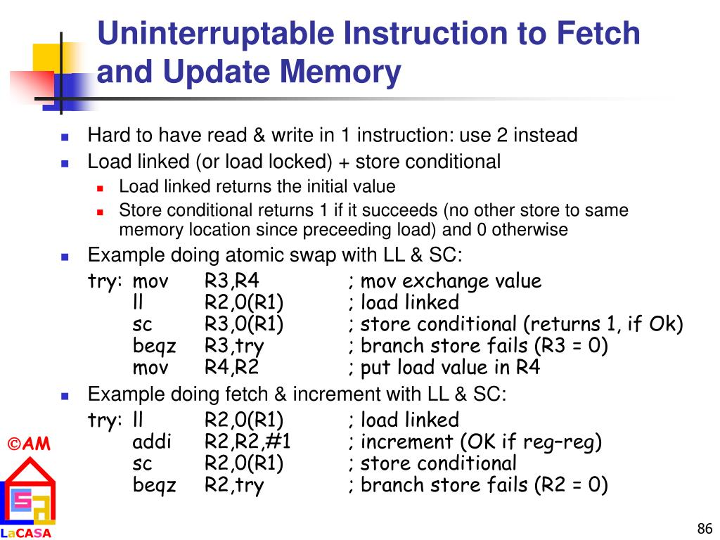 Uninterruptable Instruction to Fetch and Update Memory