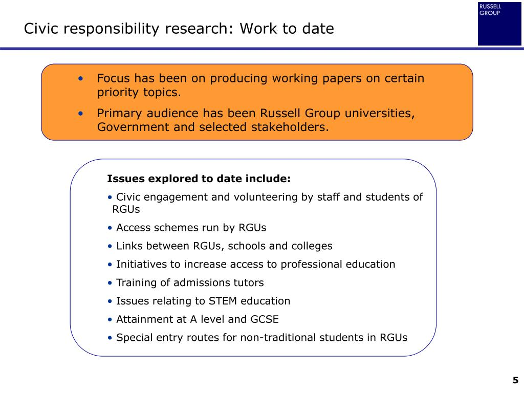 Civic responsibility research: Work to date
