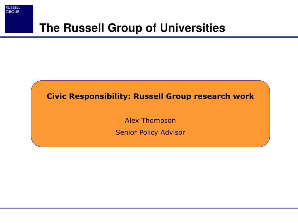 Civic Responsibility: Russell Group research work