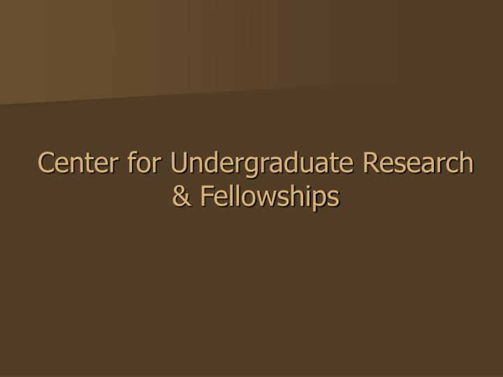Center for undergraduate research fellowships