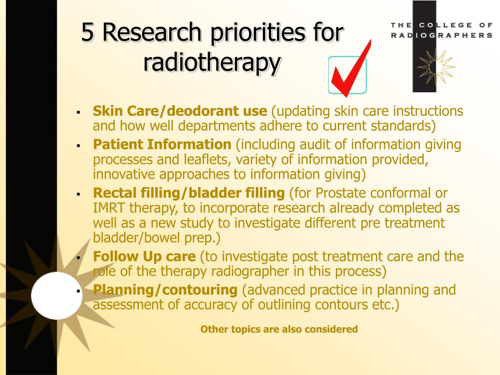 5 Research priorities for radiotherapy