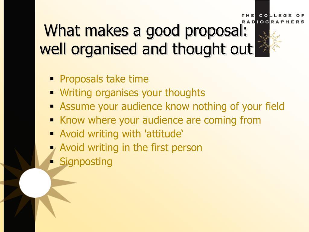Proposals take time