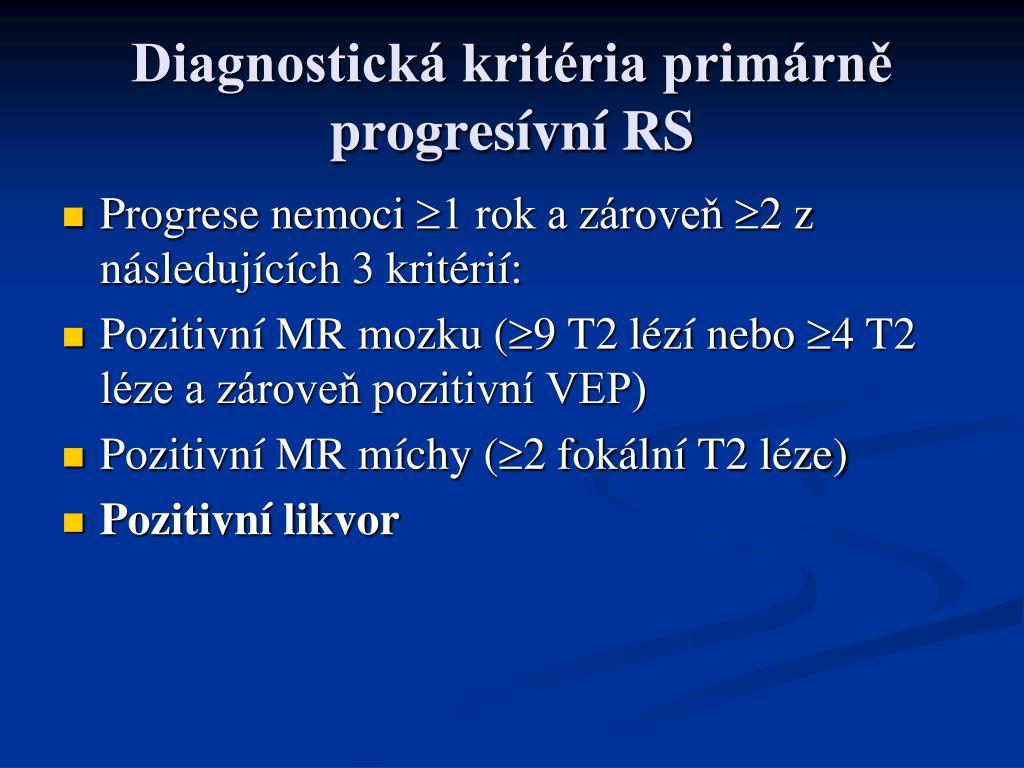 Diagnostická kritéria primárně progresívní RS