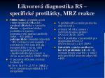 likvorov diagnostika rs specifick protil tky mrz reakce