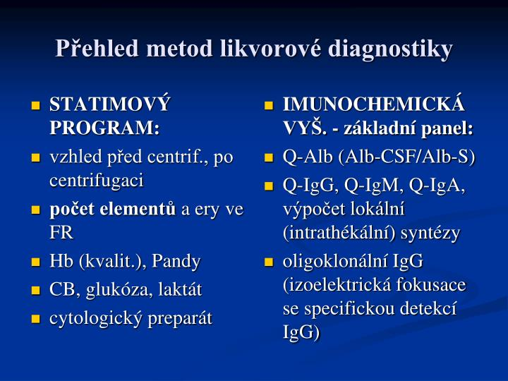 P ehled metod likvorov diagnostiky
