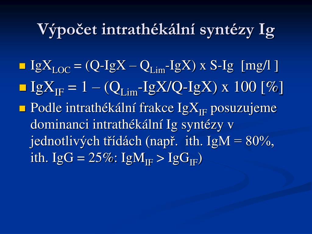 Výpočet intrathékální syntézy Ig