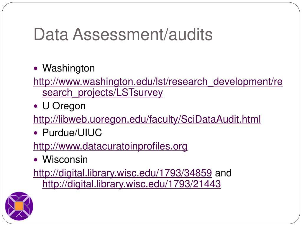 Data Assessment/audits