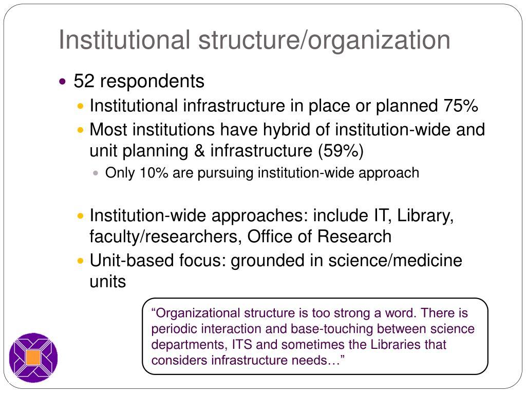 Institutional structure/organization