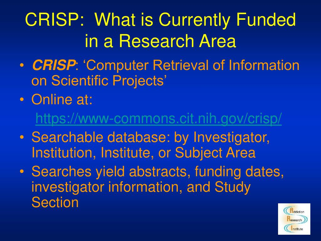CRISP:  What is Currently Funded in a Research Area
