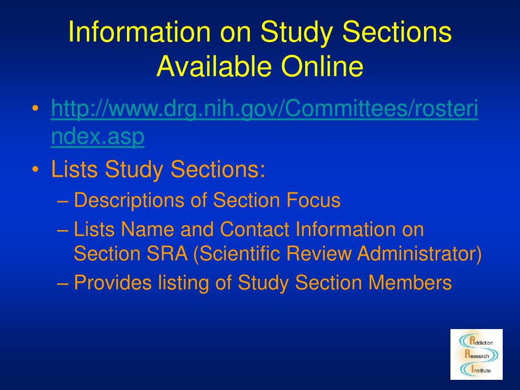 Information on Study Sections Available Online