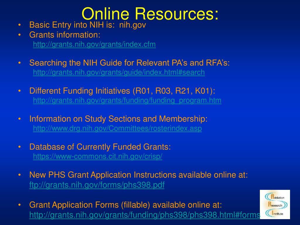 Online Resources: