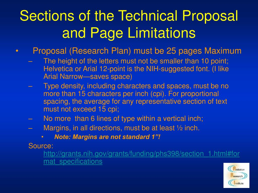 Sections of the Technical Proposal and Page Limitations