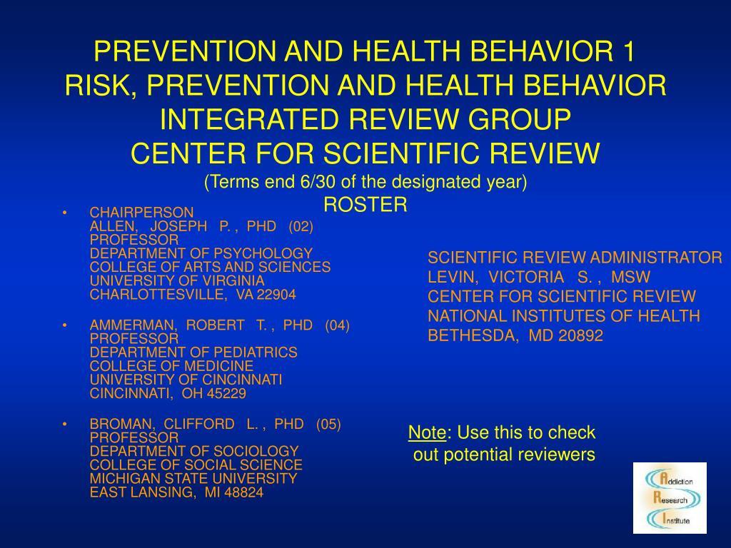 PREVENTION AND HEALTH BEHAVIOR 1