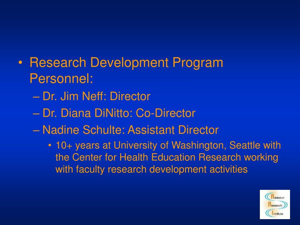 Research Development Program Personnel: