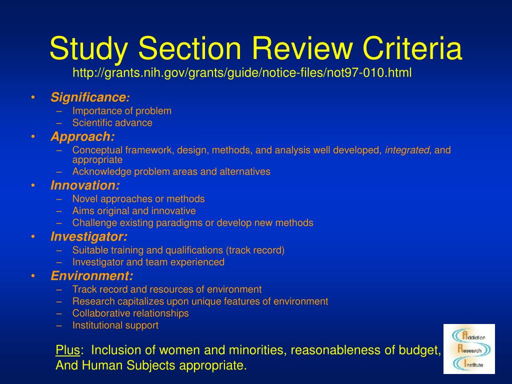 Study Section Review Criteria