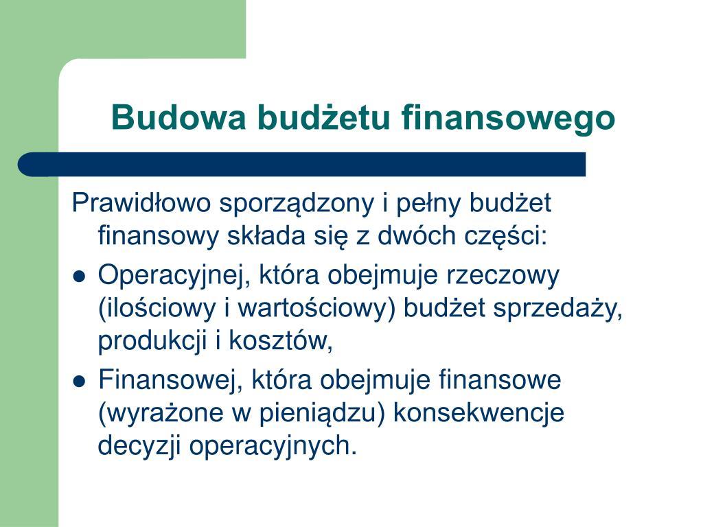Budowa budżetu finansowego