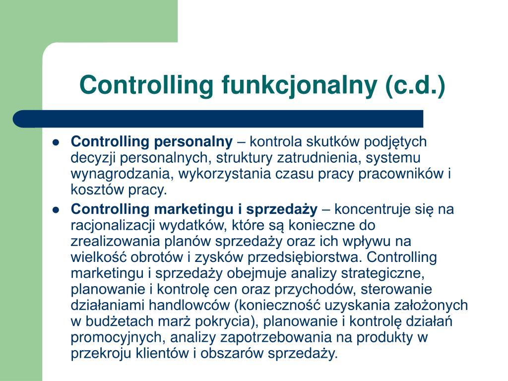 Controlling funkcjonalny (c.d.)