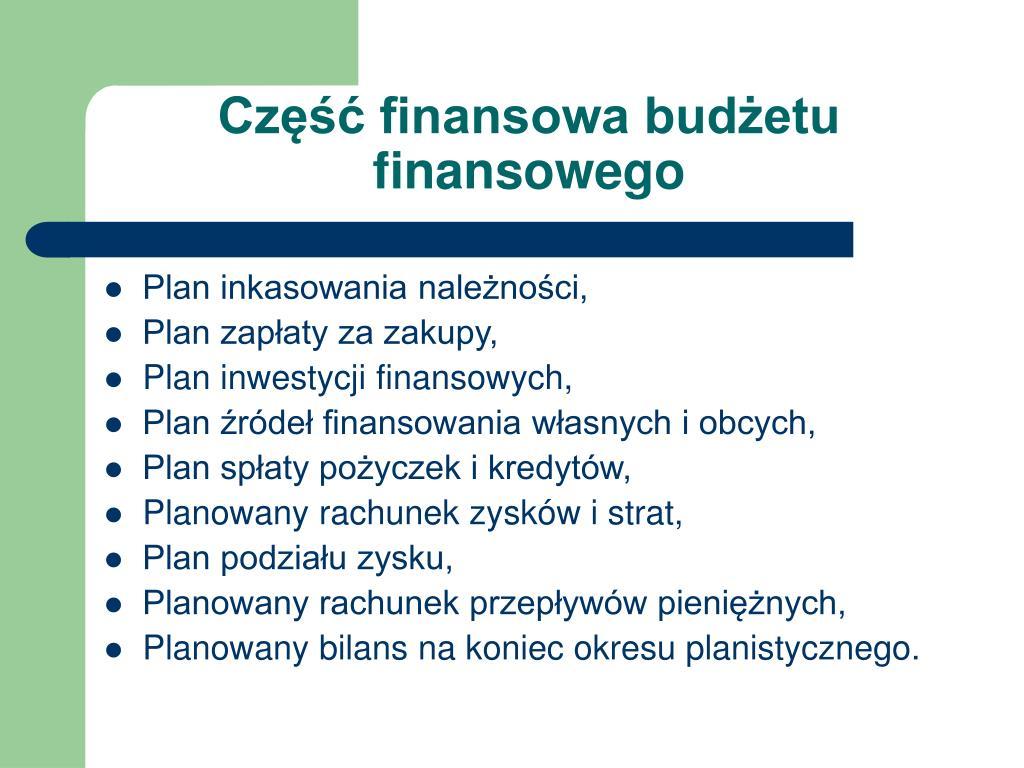 Część finansowa budżetu finansowego