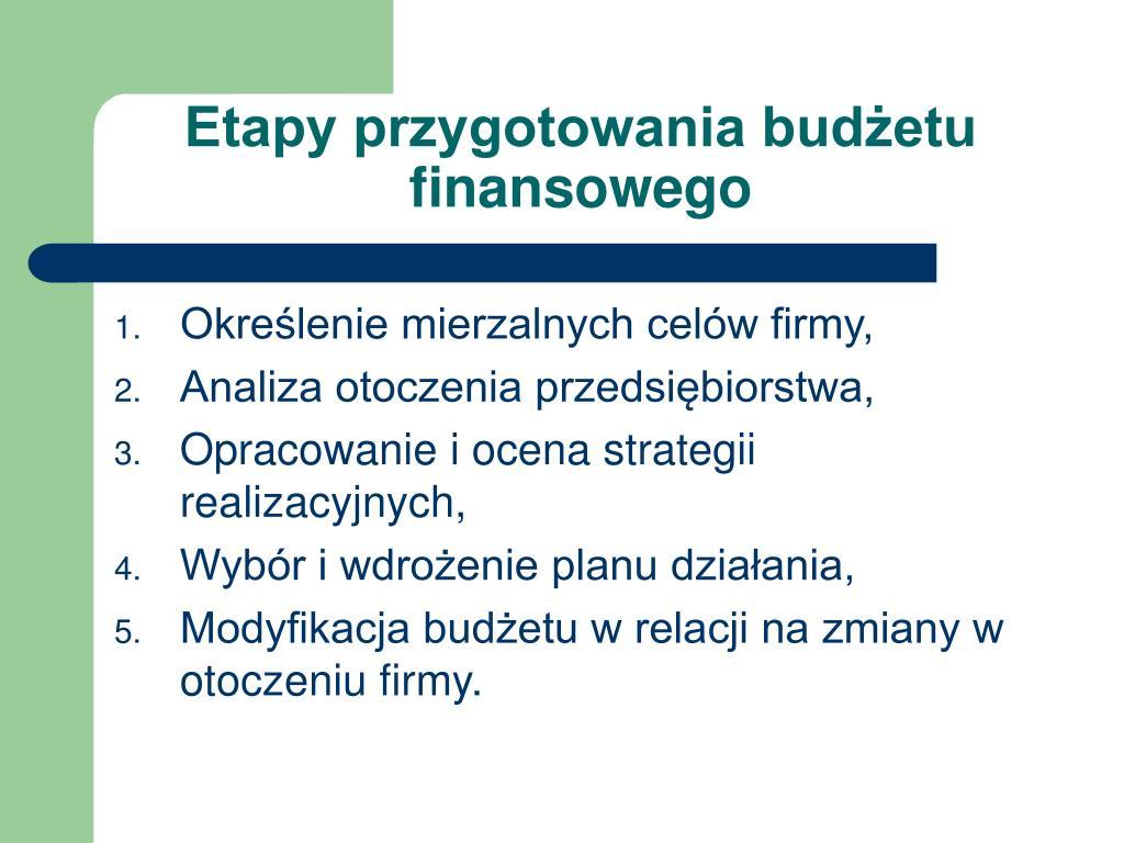 Etapy przygotowania budżetu finansowego