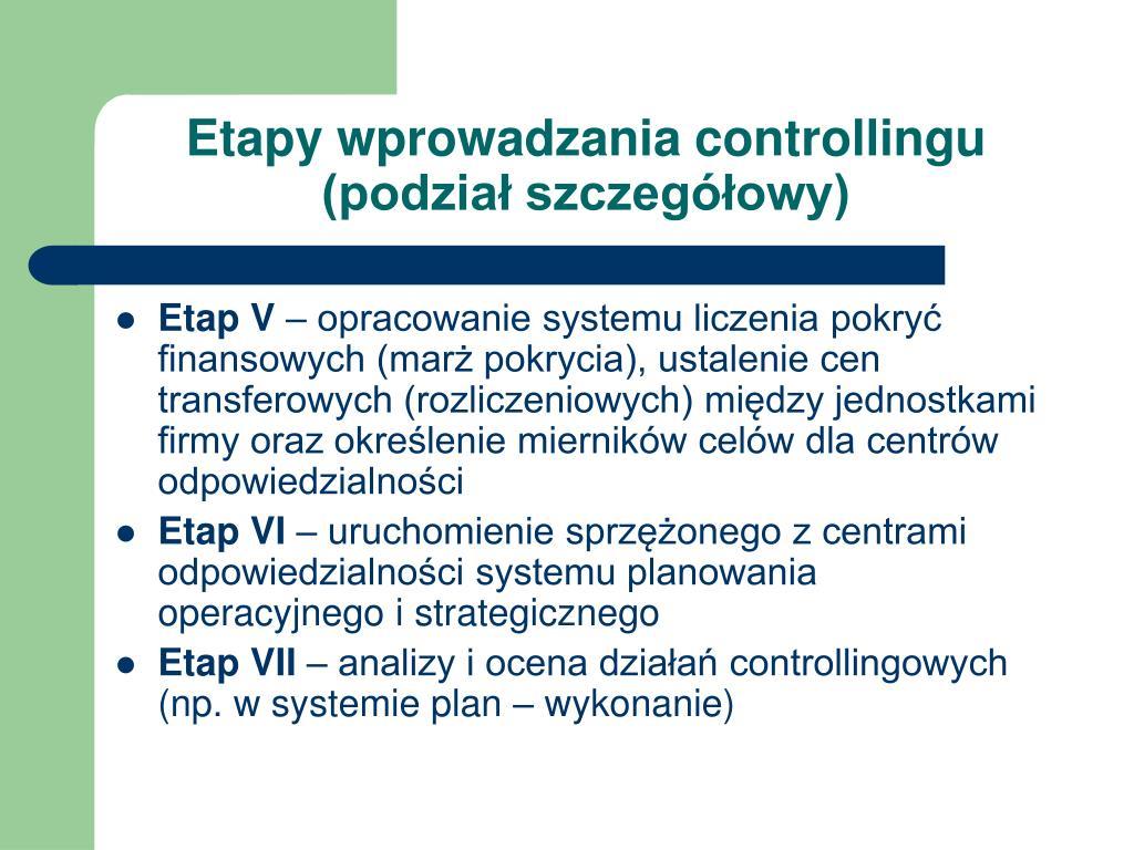 Etapy wprowadzania controllingu