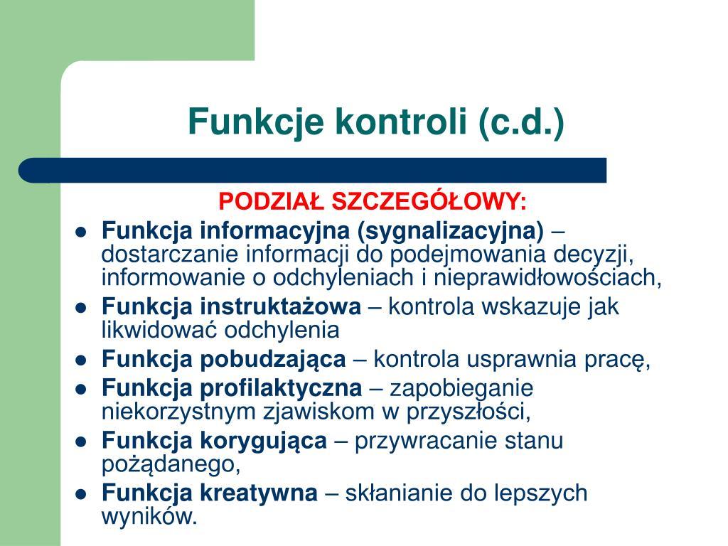 Funkcje kontroli (c.d.)