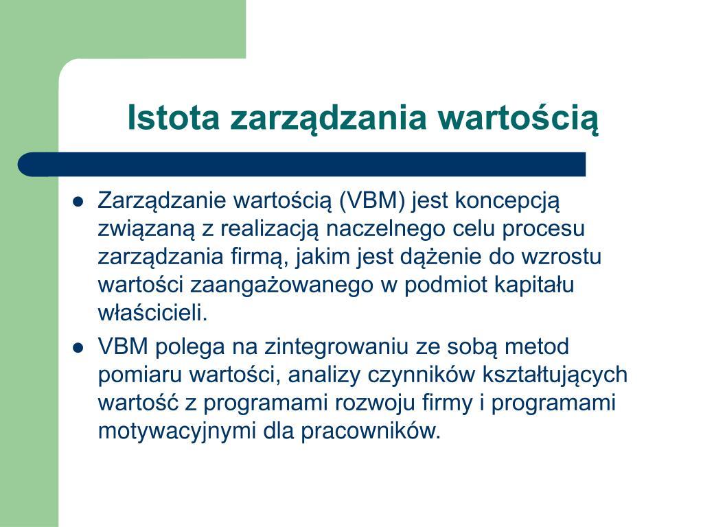 Istota zarządzania wartością