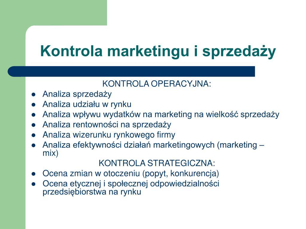 Kontrola marketingu i sprzedaży