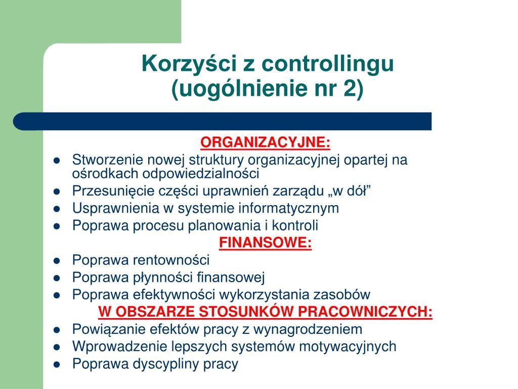 Korzyści z controllingu